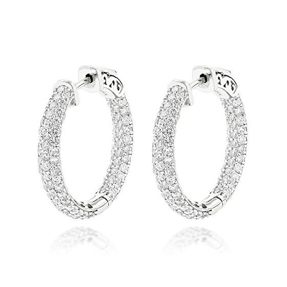 14k Gold Small Inside Out Diamond Hoop Earrings By Luxurman 2 9 Ctw H Color Si Clarity