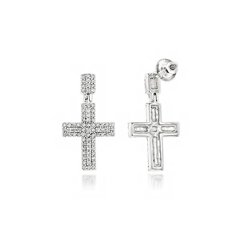 Gold Diamond Cross Earrings 14K White Gold by LUXU