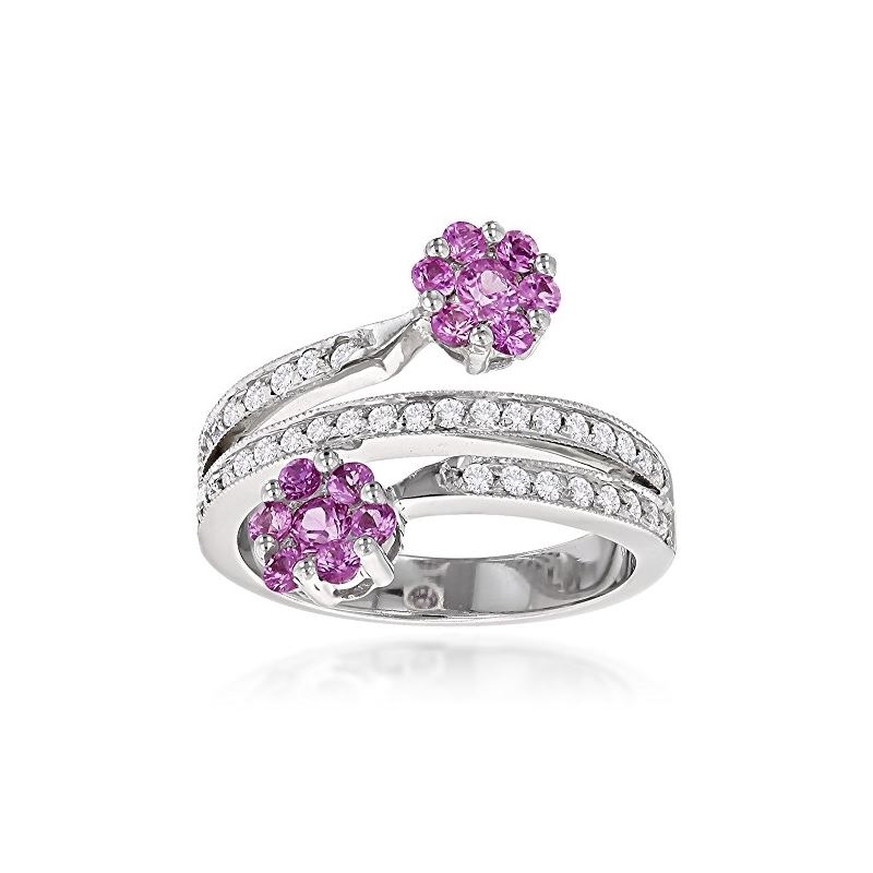 Ladies Diamond Right Hand Rings 14k Gold Pink Topaz