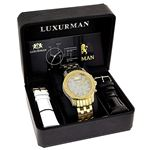Mens Yellow Gold Tone Watch With Diamonds 0.50Ct-4