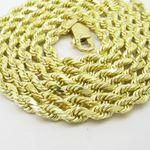 "Mens 10k Yellow Gold skinny rope chain ELNC4 22"" l"