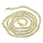 Mens Yellow-Gold Cuban Diamond Cut link Chain Leng