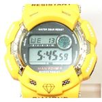 Yellow Kingmaster Digital Diamond Rubber Strap W-2