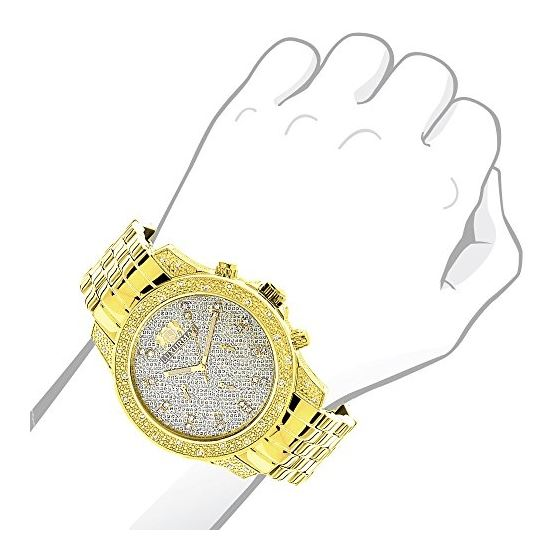 Mens Yellow Gold Tone Watch With Diamonds 0.50Ct-3