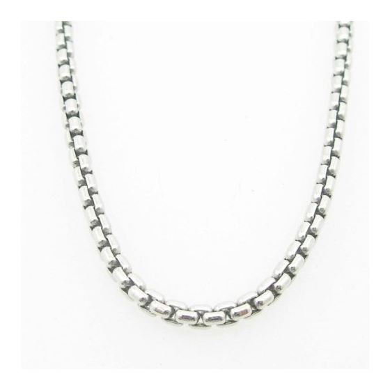 Mens .925 Italian Sterling Silver Box Link Chain L