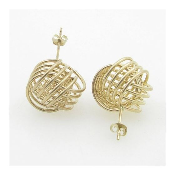 Ladies 10K Solid Yellow Gold love knot earrings 17