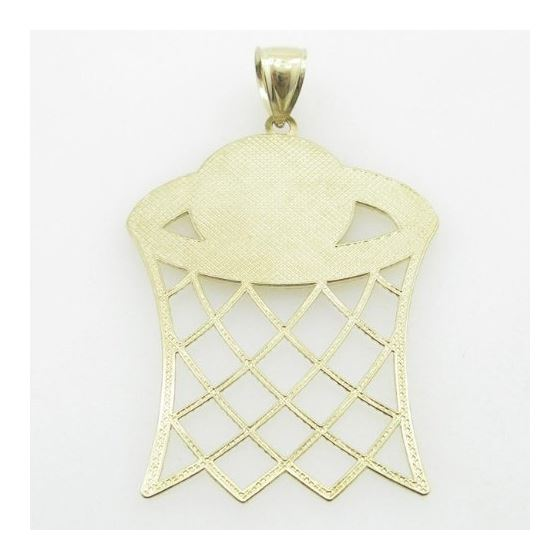 Mens 10K Solid Yellow Gold basketball hoop pendant