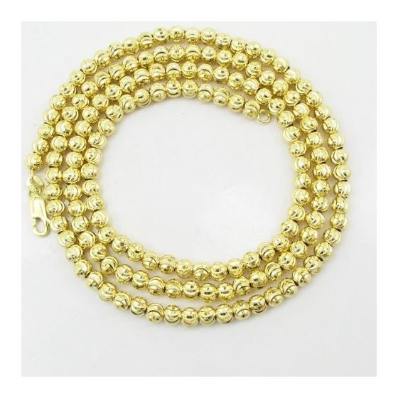 Mens 10K Yellow Gold Moon Cut Bead Link Chain El-3