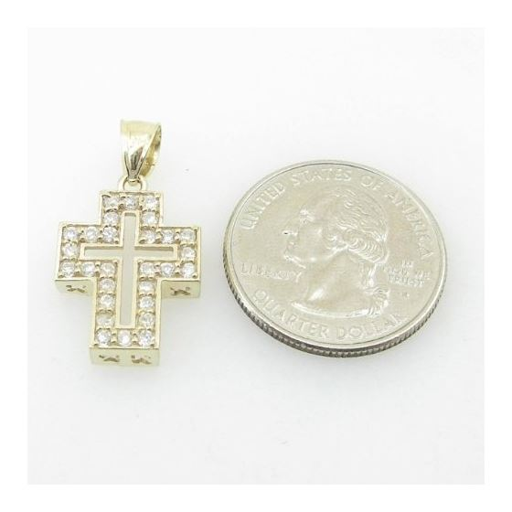 Unisex 10K Solid Yellow Gold hollow cross Length -