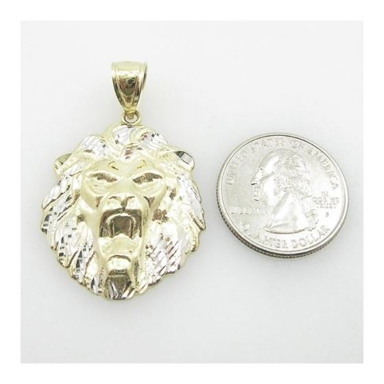 Mens 10K Yellow Gold Lion Head Pendant Length -4