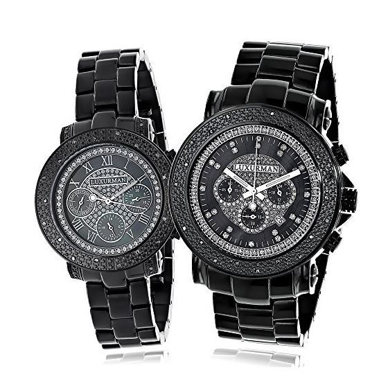 Large Matching His And Hers Watches: Black Diamond