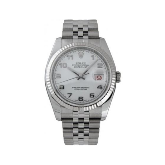 Rolex Oyster Perpetual Datejust Steel White Mens W
