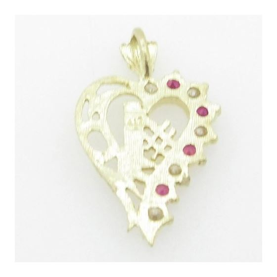 Ladies 10K Solid Yellow Gold #1 mom heart pendant