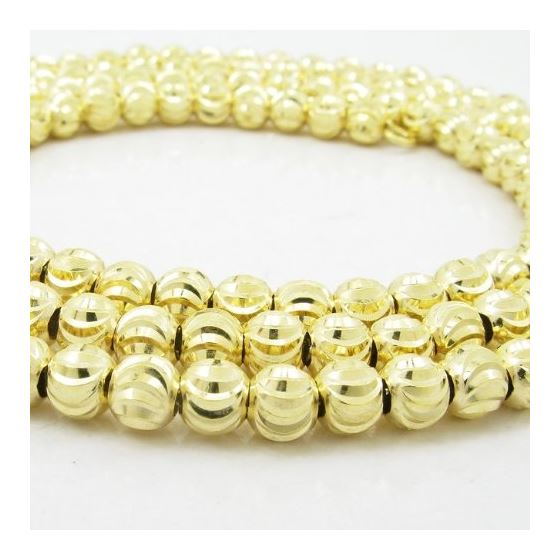 Mens 10K Yellow Gold Moon Cut Bead Link Chain El-2