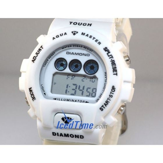 Aqua Master Shock Digital Watch White