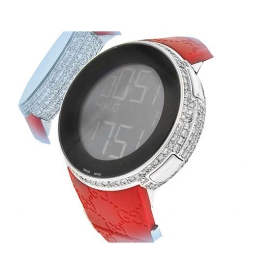 Gucci Diamond Watches Mens Red Rubber Band Luxury