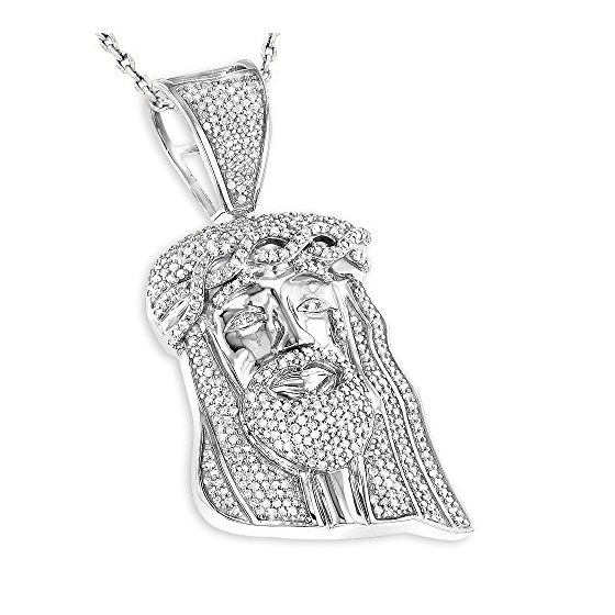 Mini diamond jesus head pendant in sterling silver by luxurman 075 mini diamond jesus head pendant in sterling silver by luxurman 075 ctw h color si clarity aloadofball Images