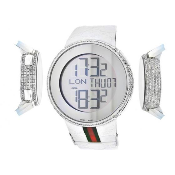 Gucci Diamond Watches Mens White Rubber Band Luxur