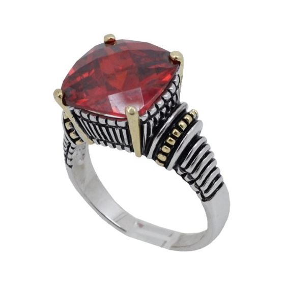Ladies .925 Italian Sterling Silver Ruby Red synth