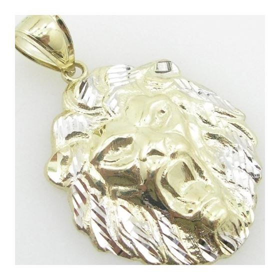 Mens 10K Yellow Gold Lion Head Pendant Length -2