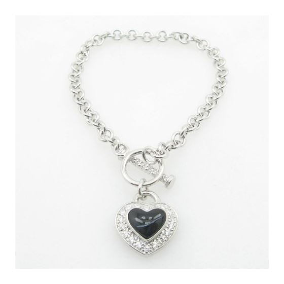 Ladies .925 Italian Sterling Silver Open Link Hear