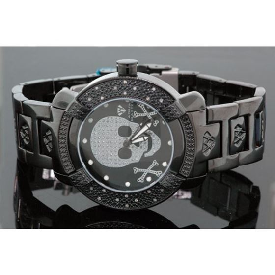 Aqua Master Mens Black Skull Diamond Watch