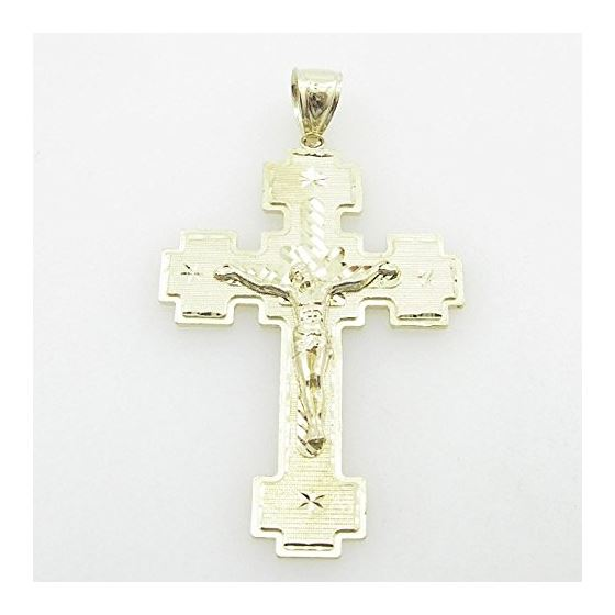 Mens 10K Solid Yellow Gold big jesus cross Length