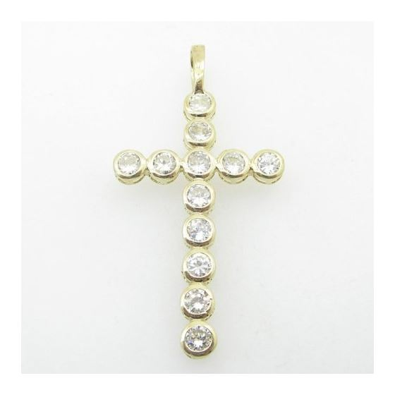 Mens 10K Solid Yellow Gold 12 stone cross 2 Length