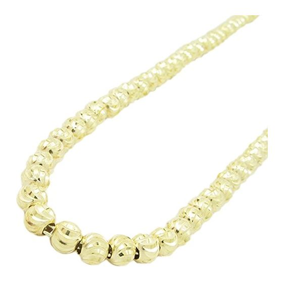 Mens 10K Yellow Gold Moon Cut Bead Link Chain Elnc