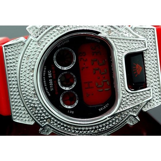 Ice Plus Mens Diamond Shock Style Watch White Case