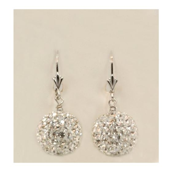 Designer Pave Disco Ball Dangle Sterling Silver Ea