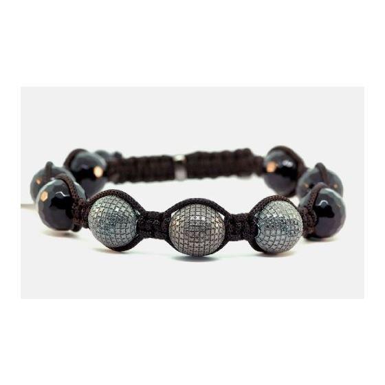 Mens Tibetan 0 25ctw Real Black Diamond Ball String Bracelet Simb03b Hip Hop Jewelry