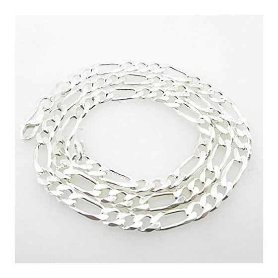 Silver Figaro link chain Necklace BDC77