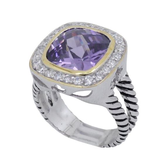 Ladies .925 Italian Sterling Silver Purple Violet