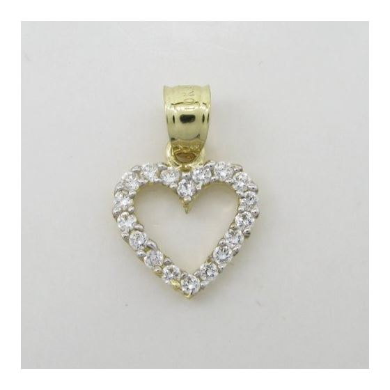 Womens 10k Yellow gold Love heart gold cz pendant