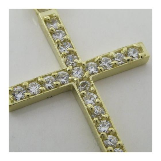 Mens 10k Yellow gold Simple gold cross cz pendant