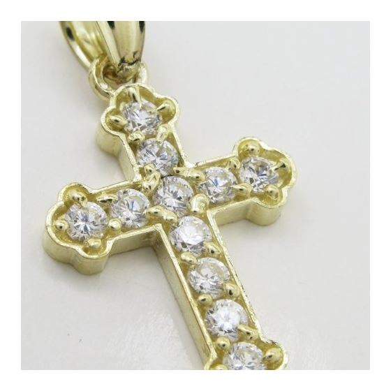 Womens 10k Yellow gold Small cz cross gold pendant