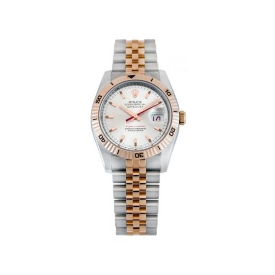 Rolex Datejust Silver Index Dial 18k Rose Gold Tur