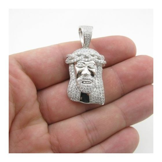 Mens silver mini jesus pendant length 173 inches width 23mm mens silver mini jesus pendant length 78806 4 aloadofball Choice Image