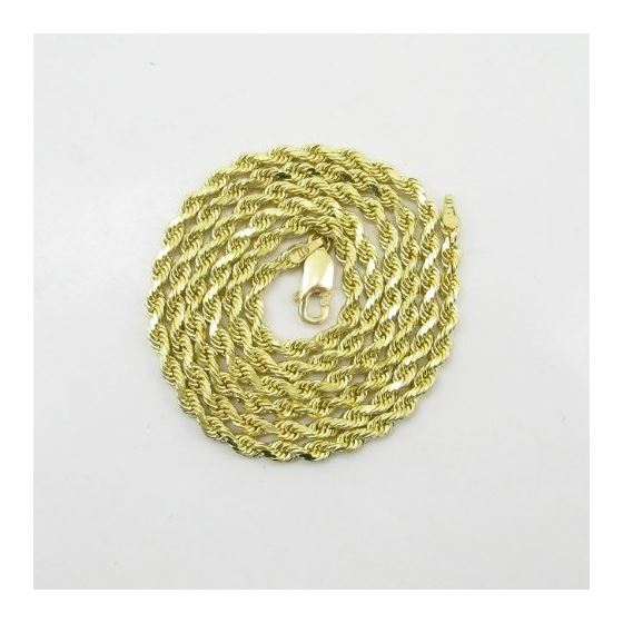 Mens 10k Yellow Gold skinny rope chain E 78055 3