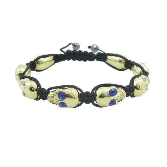 Mens Yellow Skulls With Multi Color Stones String Bracelet Diameter 3 Inch Skull 17mm