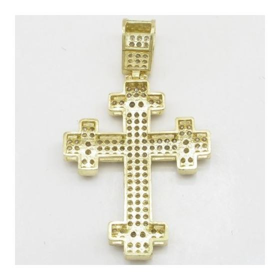 Mens 10k Yellow gold Cross head gold cross cz pend