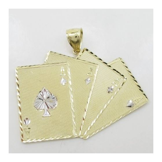 Mens 10k Yellow gold 4 Ace cards gold pe 77244 3
