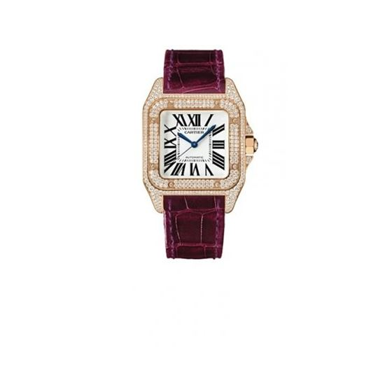 Cartier Santos 100 Diamond 18kt Rose Gold Burgundy