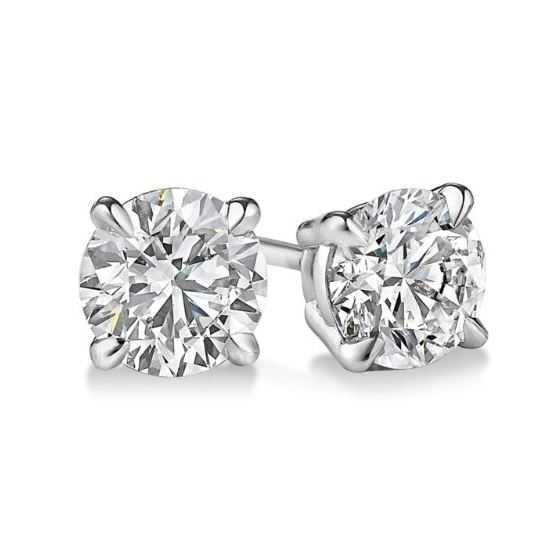 Gold Round Cut Diamond Stud Earrings 2.9 73435 1