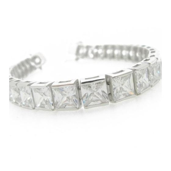 Ladies .925 Italian Sterling Silver princess cut c