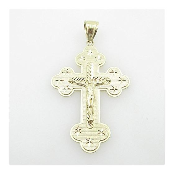 Mens 10K Solid Yellow Gold Jesus Cross Length - 2.