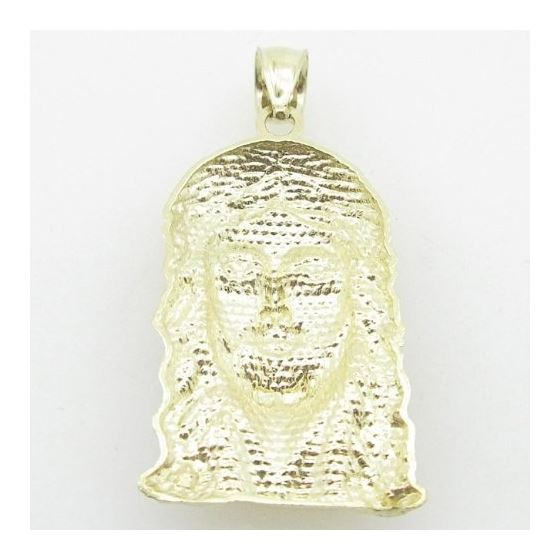 Mens 10K Solid Yellow Gold jesus head pendant Leng