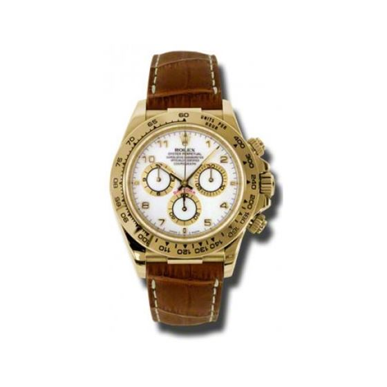 Rolex Watches  Daytona Yellow Gold  Leather Strap
