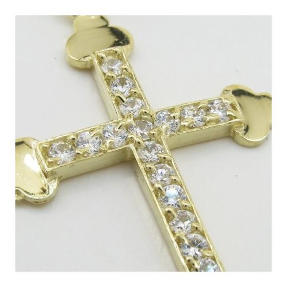 Mens 10k Yellow gold Single row gold cross cz pend